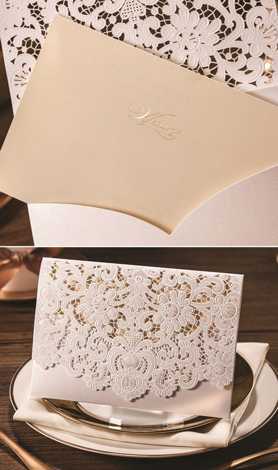 Laser cut folded vintage lace wedding invitations with rsvp and printed envelope.