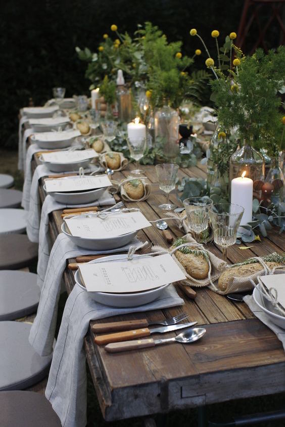 Perfect outdoor dining for a garden wedding.