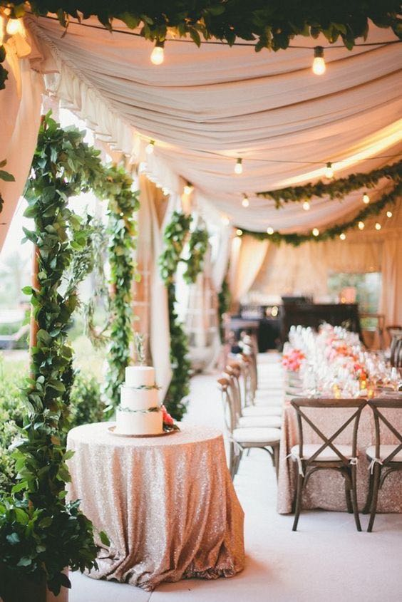 Glam desert garden wedding reception decor.