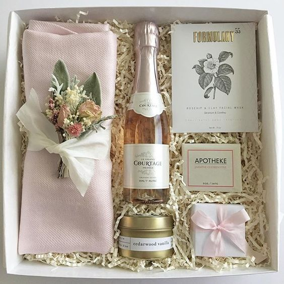 Bridesmaid gifts box ideas. Champagne included!