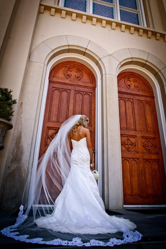 Cathedral length veil. If you've already decided to wear the traditional veil, let's take a look at their styles in this comprehensive wedding veils guide!