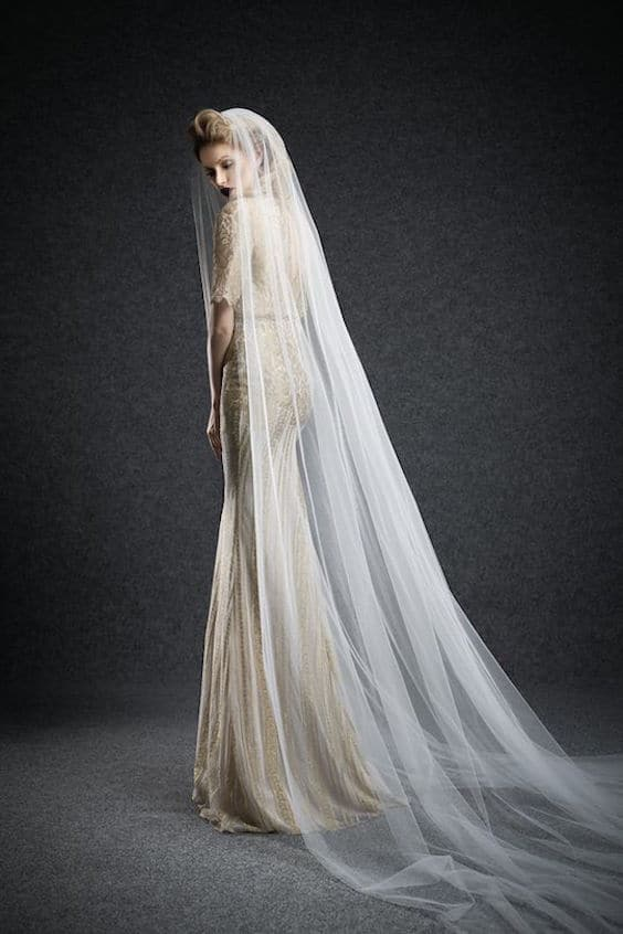 Cathedral veil with Ersa Atelier wedding dress.