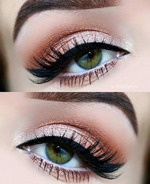 Champagne and orange cat eye makeup look.