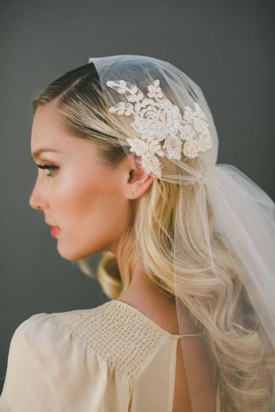Handmade Juliet cap out of champagne-colored illusion tulle.