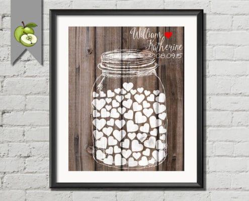 Handrawn Mason Jar Wedding Guest Book Alternative