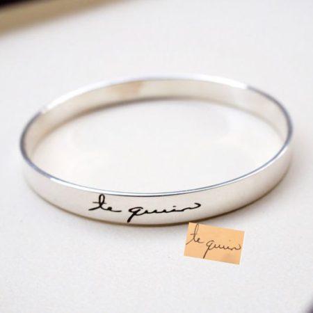 Handwriting Cuff Bracelet. Signature Engraved Bracelet. Bridesmaid Gift.