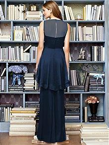Lela Rose crinkle chiffon dress with detail at bodice and hi-low peplum