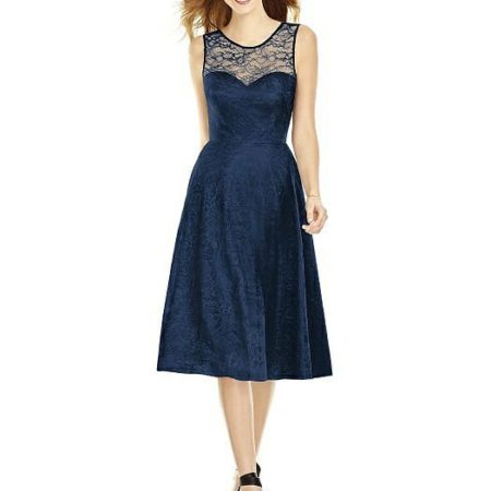 Midnight midi florentine lace dress