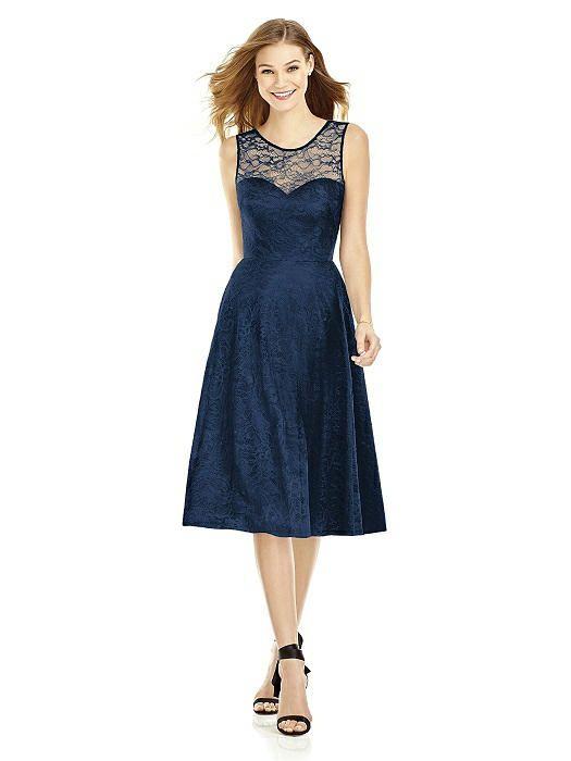 Midnight midi florentine lace dress