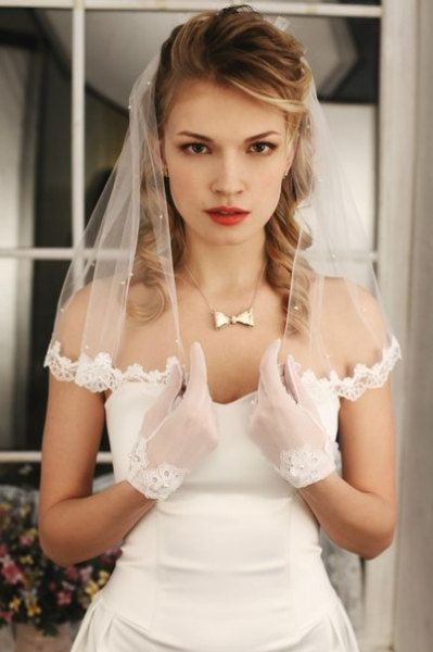 One tier flyaway wedding veil.