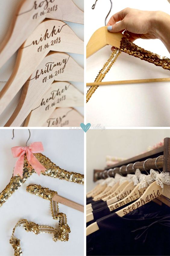 Personalized hangers. Personalized bridesmaid hangers engraved by DelovelyDetails. Using lush ribbon and sparkly sequin trim - Photo Gillian Ellis Photography. Keep track of your bridesmaids dresses by giving them a cute personalized hanger.