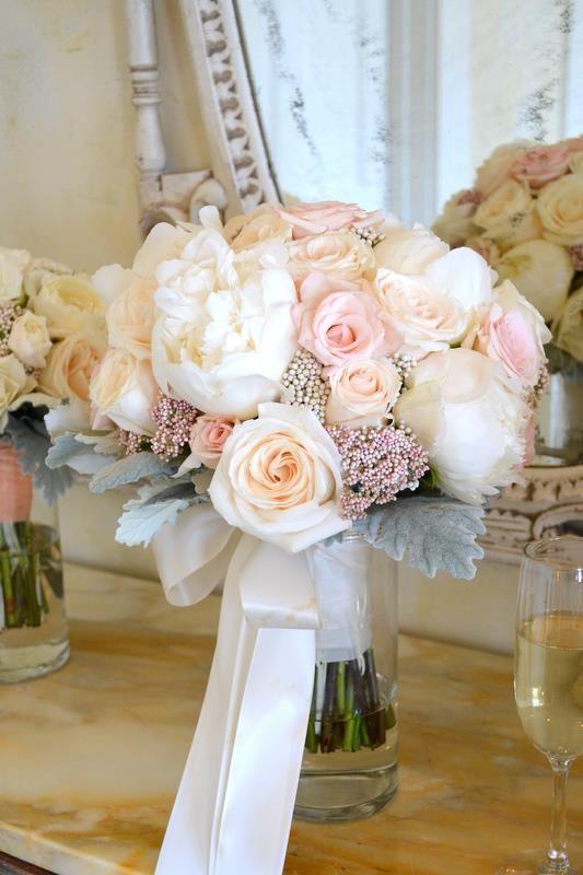 Ramo en rosa durazno y blanco. Aprende a hacer un bouquet de novia paso a paso!