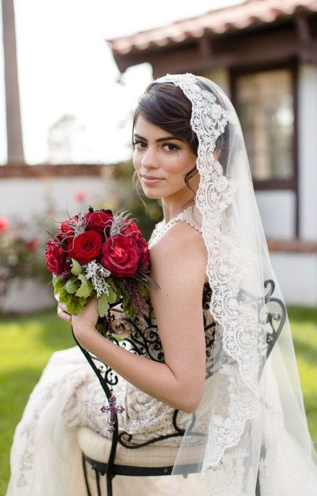 Beaded lace veil in fingertip length Spanish wedding veil.