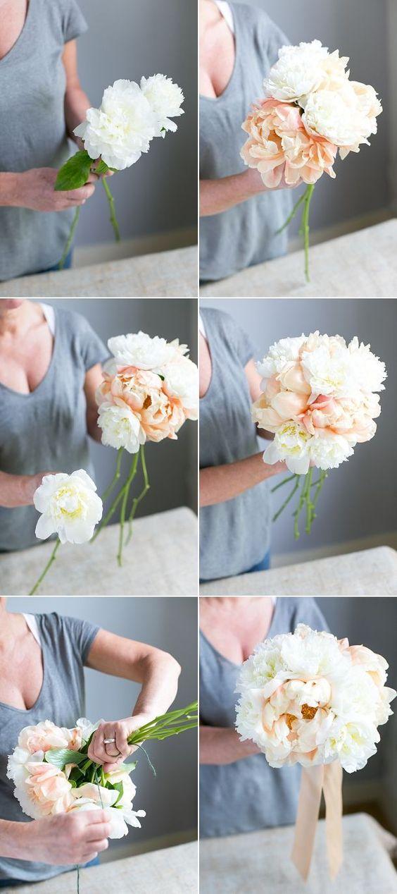 tutorial para hacer un ramo de novia de peonias atado a mano