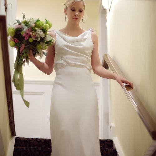 Vintage Art Deco backless wedding dress