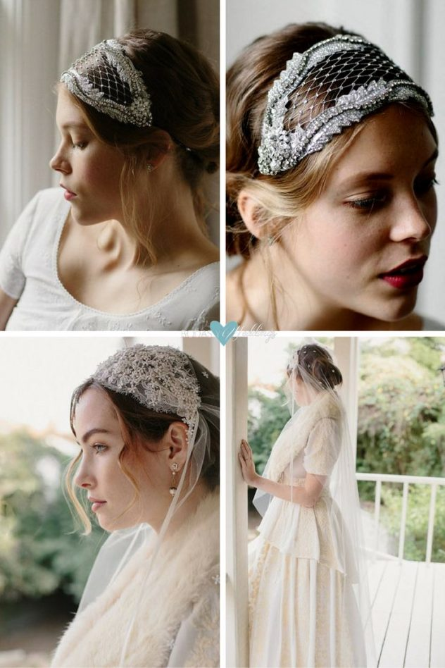 Wedding veils guide to style: Bridal caps vintage and Juliete.