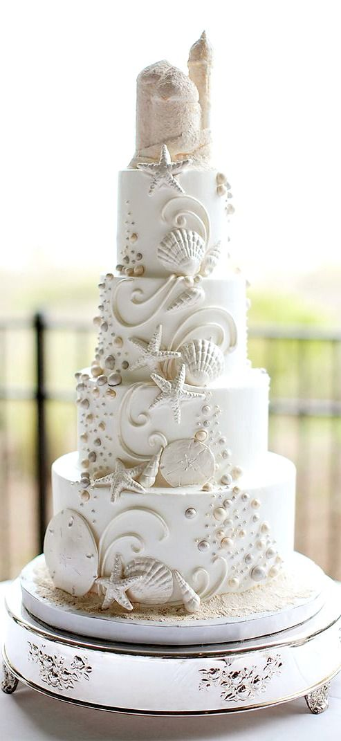 Beach wedding cake. These one-of-a-kind cakes will no doubt inspire your guests.