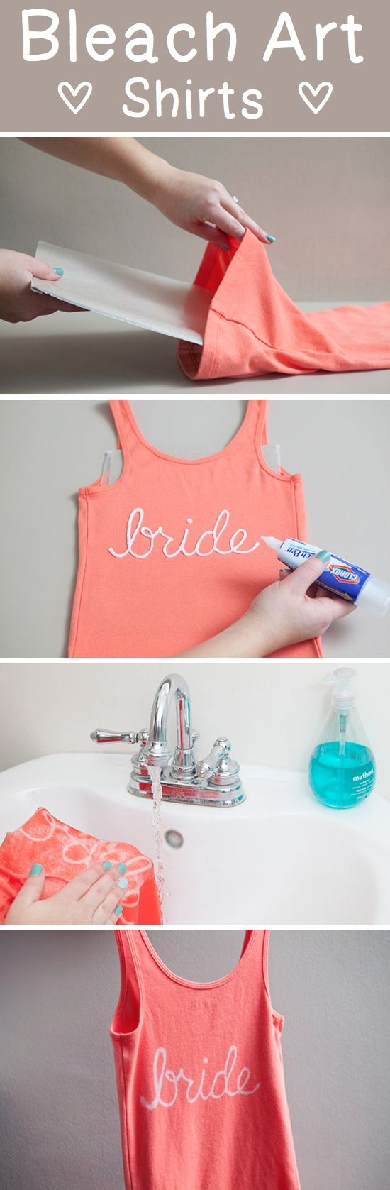 A cute shirt and a Clorox bleach gel pen is all you will need to make a bleach bride t-shirt. Why not make one for each of your bridesmaids?