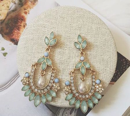 bohemian style mint green gold chandelier earrings