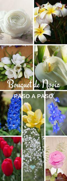 Como hacer un bouquet de novia paso a paso. Comencemos por las flores: ranúnculos, plumeria, fresias, alcatraces, delphinium larkspur, fresia amarilla, delphinium, tulipanes, ranúnculos rosas.