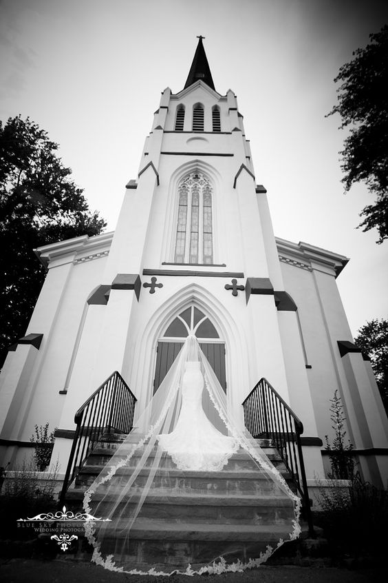 Bride on steps of church with a royal veil. Credit: blueskyphotographyny