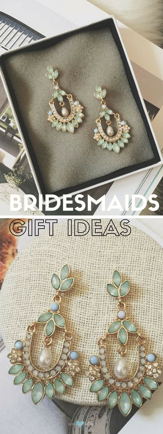 Bridesmaid gift ideas. If you are hosting a boho wedding, these bohemian style mint green, blue and gold chandelier earrings could fit the occasion.