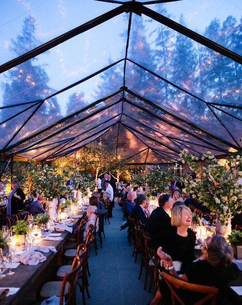 Una boda elegante en el jardín de casa con una carpa transparente. Fotografía: Adriana Klas Photography.