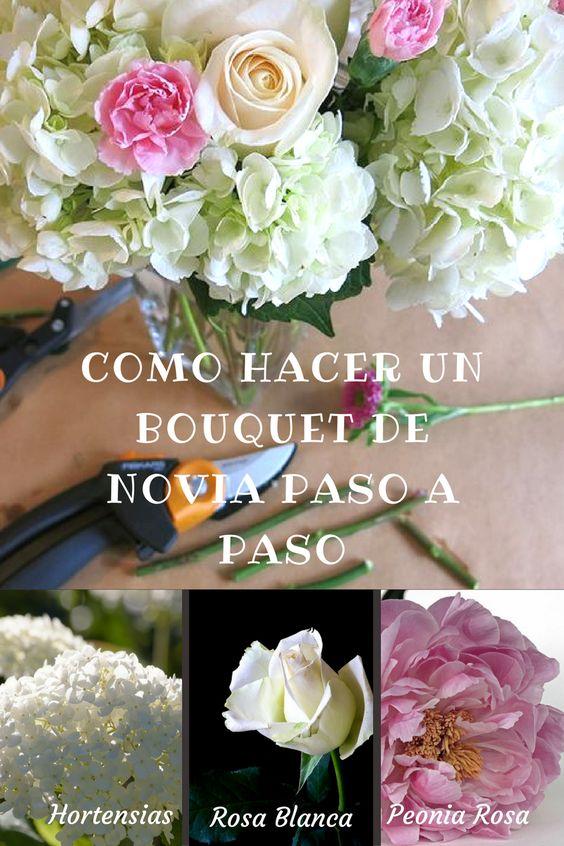 Como hacer un bouquet de novia paso a paso. Ahorra dinero haciendo tu propio ramo de novia con hortensias, peonias, rosas y muchas flores más.