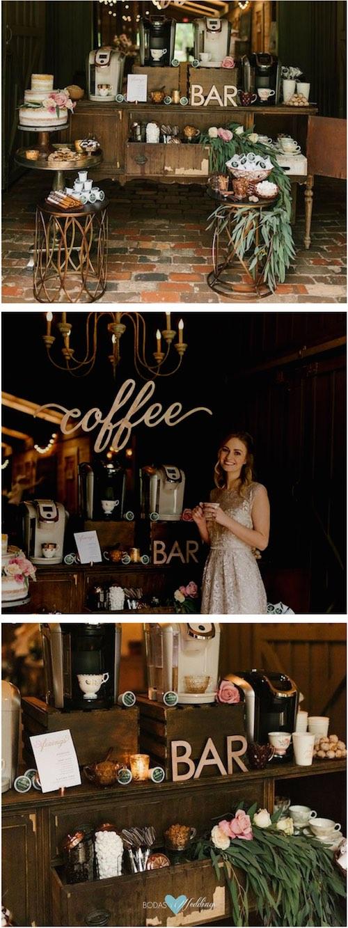 Una cómoda de madera con cajones es una forma muy original para decorar y armar un coffee bar. Fotografía: Lauren Rae Photography.