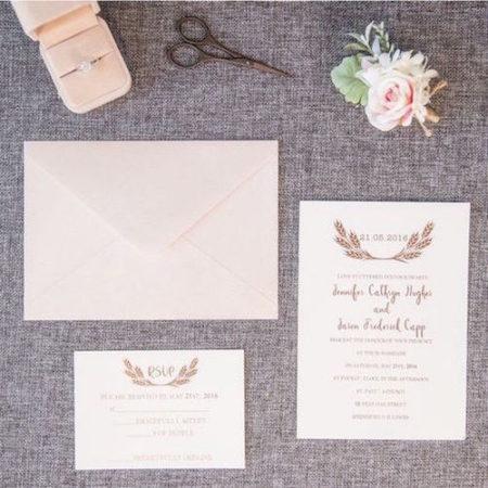 elegant rose gold foil stamped wedding invitations