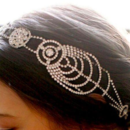elegant vintage rhinestone wedding bridal headpiece close up