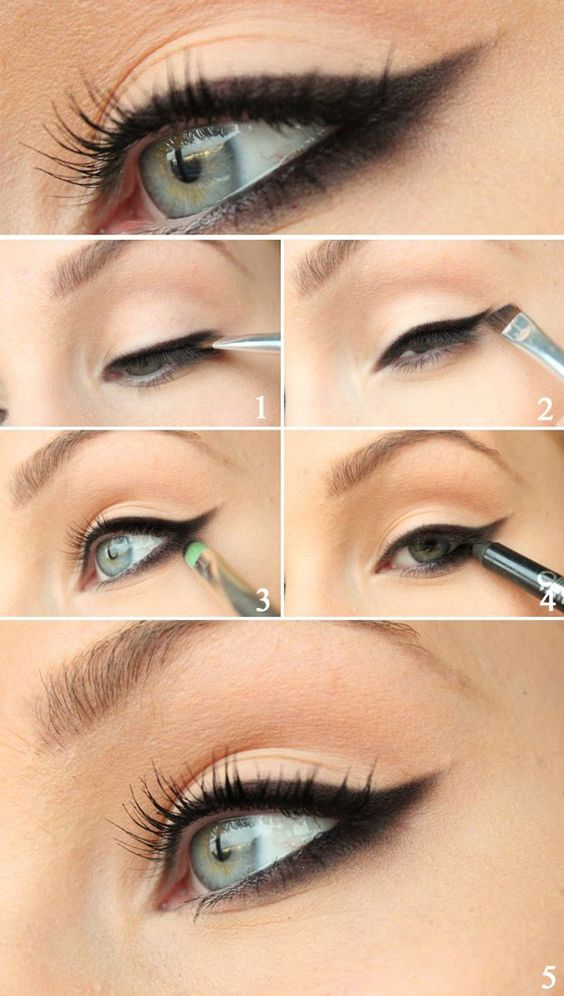 The technique for an evening cat eye makeup does not differ much from a daytime cat eye makeup but it can definitely benefit from the following tips (for applying liquid eye liner)
