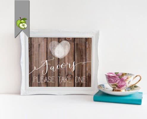 favor wedding sign rustic wood