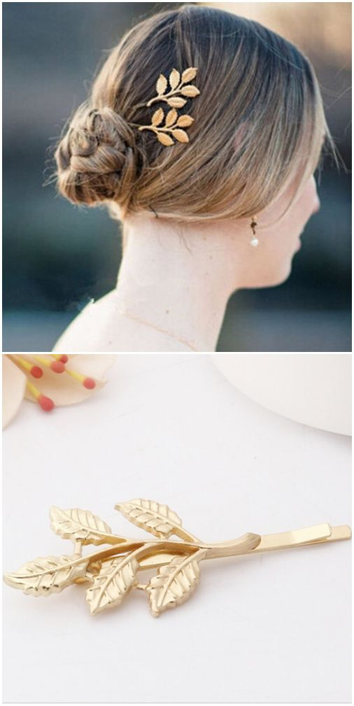 Romantic or vintage wedding? How about a gold leaf hair accessory for your bridesmaids?