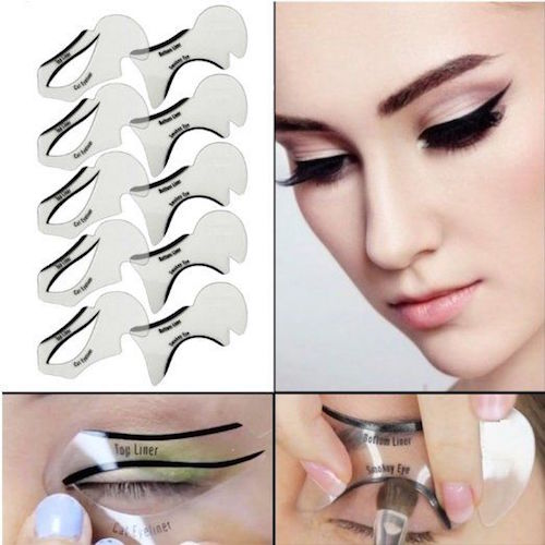 Unless you are extremely confident in your freehand eye makeup skills, leverage the use of a cat eye stencil. Draw the shape with it first and then fill in the cat eye with a liquid or gel liner.
