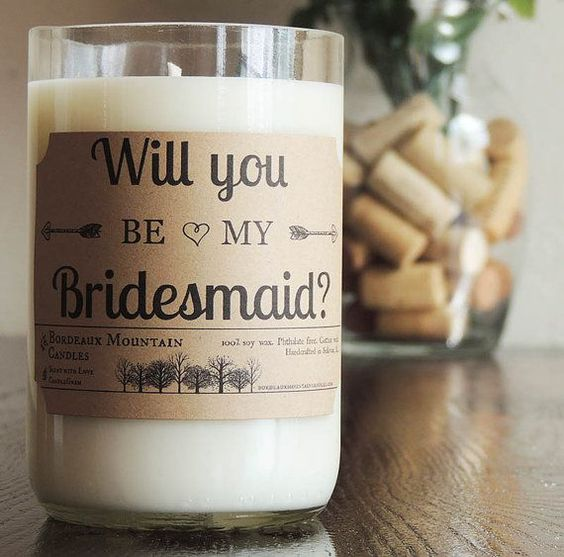 Creative ways to propose to your bridesmaids. Wrap a candle with your question!