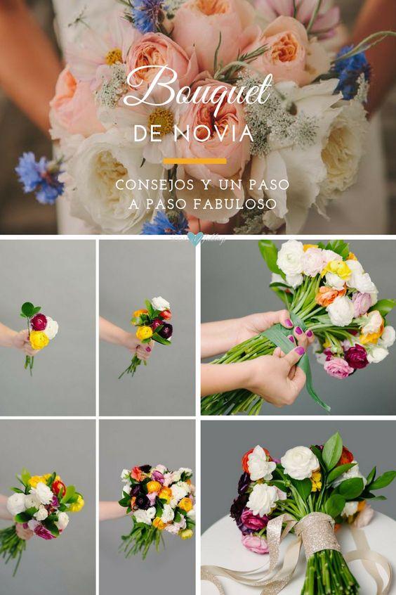 Tutorial de bouquet de novia. Para este ramo usamos Lisianthus rosa, rosas chinas blancas, botones de crisantemos verdes, Chamelaucium Uncinatum o flor de cera, siempreviva azul, e Hipéricos o hierbas de San Juan.
