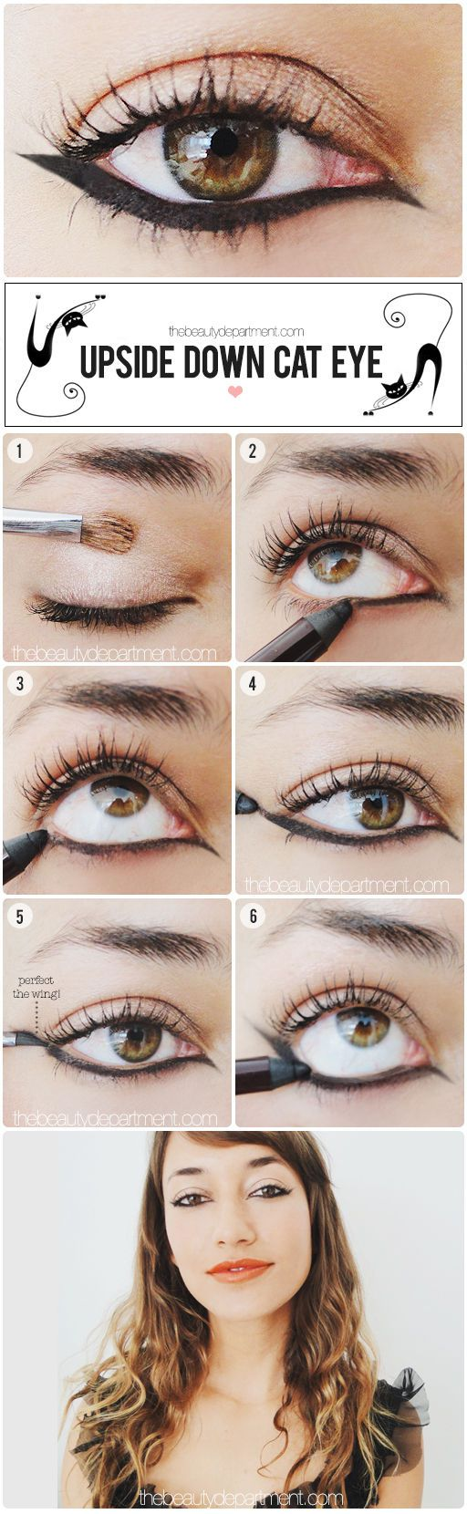 Try an upside down cat eye for a more edgy look and dare to be different!