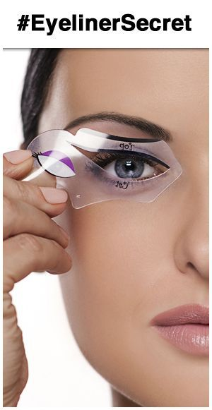 Using an eyeliner stencil to create winged liner or cat eye makeup. Great cat eyes tutorial!