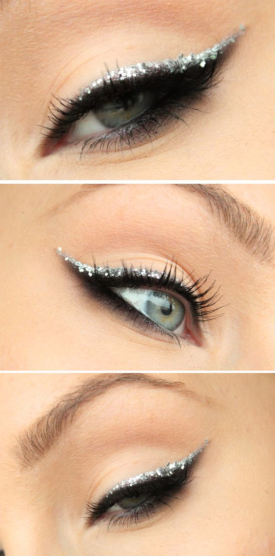 Add glitter to your wedding cat eye makeup!
