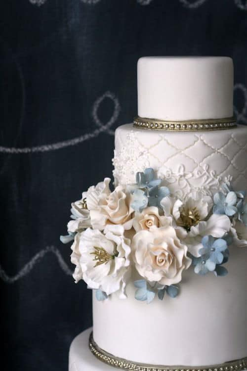 A touch of blue on the flowers, delicate decorations in gold and a quilted pattern.