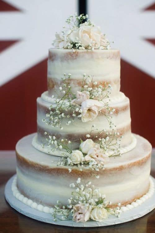 Cakes are always the main wedding attraction no matter its style. What I like best are vintage wedding cakes like this adorable white naked wedding cake.