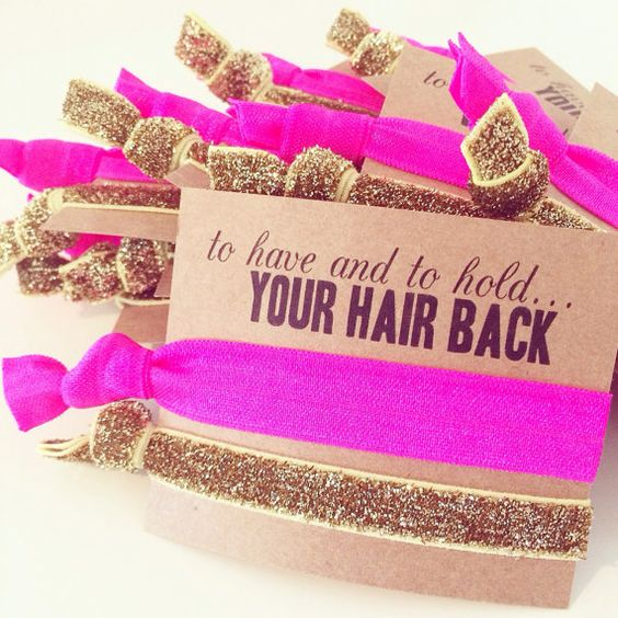 Bachelorette hair tie favor To Have and To Hold.