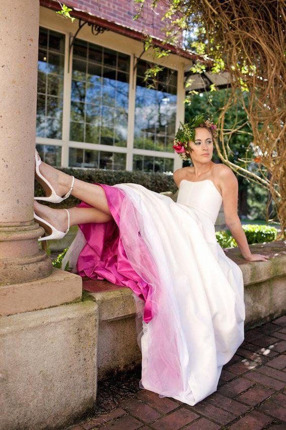 Two piece silk taffeta wedding dress. Corset with skirt for the alternative bride.