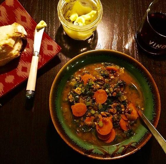 Curried lentil soup for winter weddings served family style by Naked Bite.