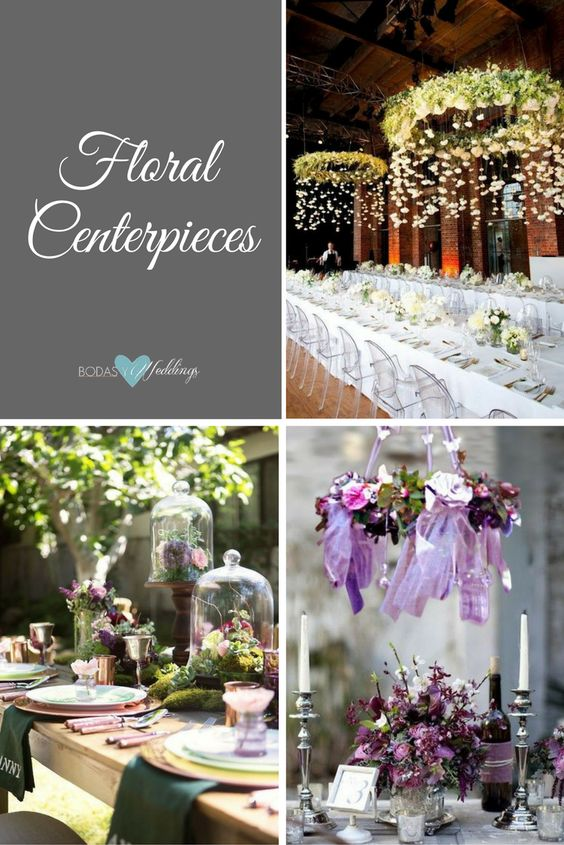 Floral chandeliers as spectacular hanging centerpieces. Elegant garden party or fairytale wedding centerpiece decor. Shades of purple.