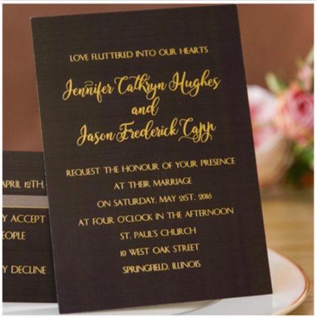 Foil-Stamped Black Gold Invitations