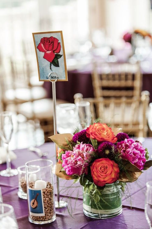 "Modern wedding ""Mexican Loteria"" themed reception at Morais Vineyards organized by BodaMaestra Wedding Planning."