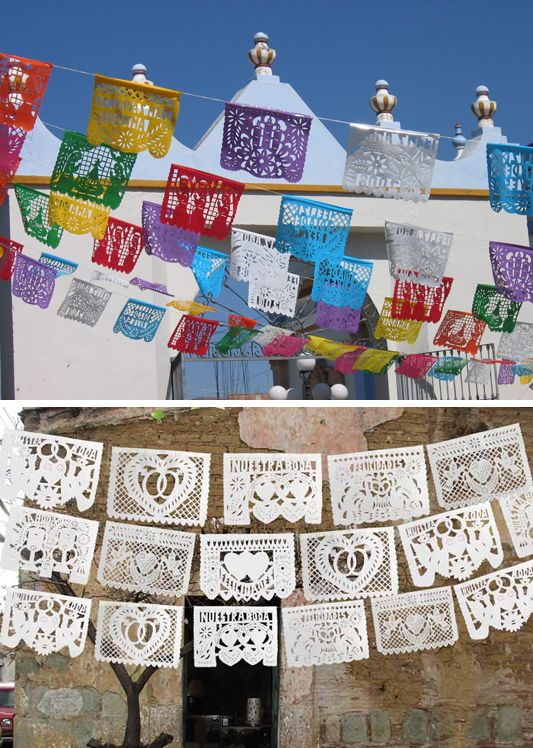 Papel picado are paper Mexican folk art banners which can be used for wedding decor.