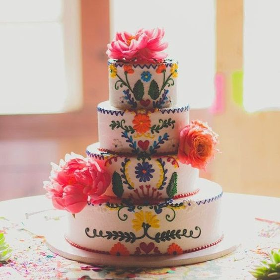 Pastel de bodas mexicanas inspirada en el Dia de los Muertos.